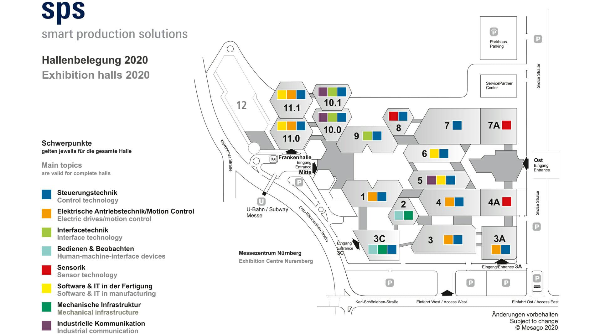 SPS 2020 Hallenübersicht